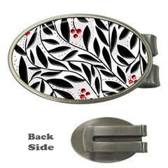 Red, black and white elegant pattern Money Clips (Oval)