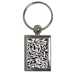 Red, black and white elegant pattern Key Chains (Rectangle)