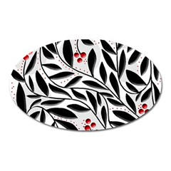 Red, black and white elegant pattern Oval Magnet