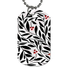 Red, black and white elegant pattern Dog Tag (Two Sides)