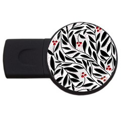 Red, black and white elegant pattern USB Flash Drive Round (2 GB)