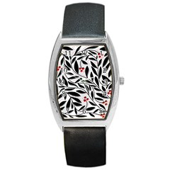 Red, black and white elegant pattern Barrel Style Metal Watch