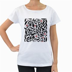 Red, black and white elegant pattern Women s Loose-Fit T-Shirt (White)