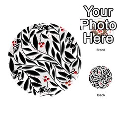 Red, black and white elegant pattern Playing Cards 54 (Round)