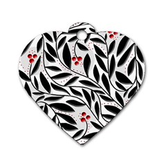 Red, black and white elegant pattern Dog Tag Heart (One Side)