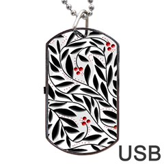 Red, black and white elegant pattern Dog Tag USB Flash (Two Sides)