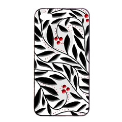 Red, black and white elegant pattern Apple iPhone 4/4s Seamless Case (Black)