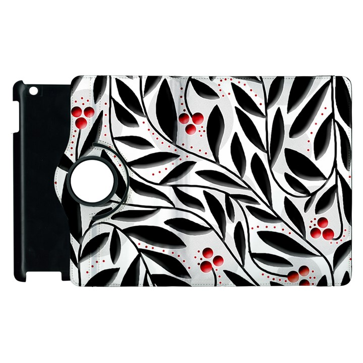 Red, black and white elegant pattern Apple iPad 2 Flip 360 Case