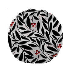 Red, black and white elegant pattern Standard 15  Premium Round Cushions