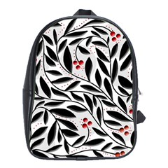 Red, black and white elegant pattern School Bags (XL)