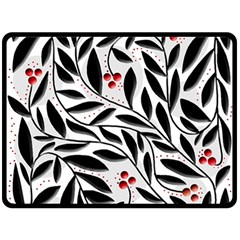 Red, black and white elegant pattern Double Sided Fleece Blanket (Large)