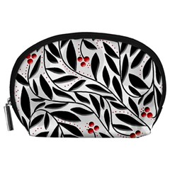 Red, black and white elegant pattern Accessory Pouches (Large)