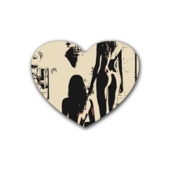 30 Sexy Conte Sketch Girls In Room Naked Ass Butts Shadows Heart Coaster (4 Pack)