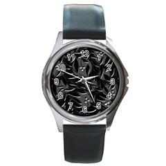 Black floral design Round Metal Watch