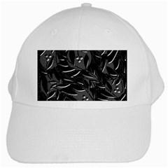Black floral design White Cap