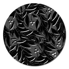 Black floral design Magnet 5  (Round)