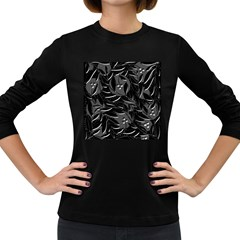 Black floral design Women s Long Sleeve Dark T-Shirts