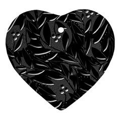 Black floral design Heart Ornament (2 Sides)