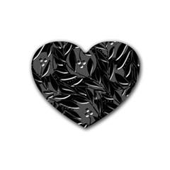Black floral design Rubber Coaster (Heart)