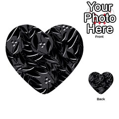 Black floral design Multi-purpose Cards (Heart)
