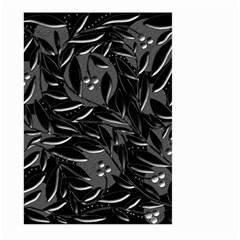 Black floral design Large Garden Flag (Two Sides)