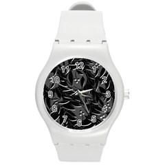 Black floral design Round Plastic Sport Watch (M)