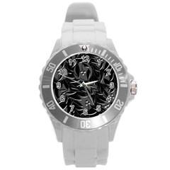 Black floral design Round Plastic Sport Watch (L)