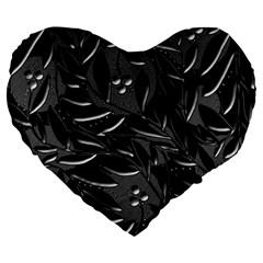 Black floral design Large 19  Premium Heart Shape Cushions