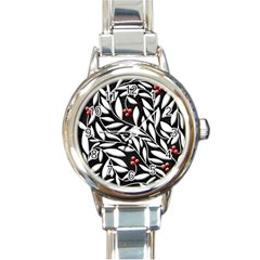 Black, red, and white floral pattern Round Italian Charm Watch