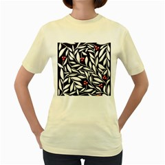 Black, red, and white floral pattern Women s Yellow T-Shirt