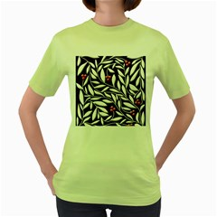 Black, red, and white floral pattern Women s Green T-Shirt