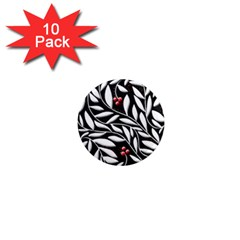 Black, red, and white floral pattern 1  Mini Magnet (10 pack)