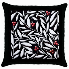 Black, red, and white floral pattern Throw Pillow Case (Black)