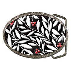 Black, red, and white floral pattern Belt Buckles