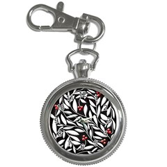Black, red, and white floral pattern Key Chain Watches