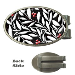 Black, red, and white floral pattern Money Clips (Oval)