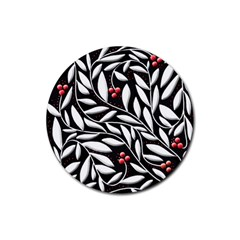 Black, red, and white floral pattern Rubber Round Coaster (4 pack)