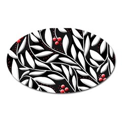 Black, red, and white floral pattern Oval Magnet