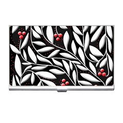 Black, red, and white floral pattern Business Card Holders