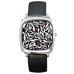 Black, red, and white floral pattern Square Metal Watch