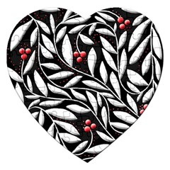 Black, red, and white floral pattern Jigsaw Puzzle (Heart)