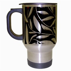 Black, red, and white floral pattern Travel Mug (Silver Gray)