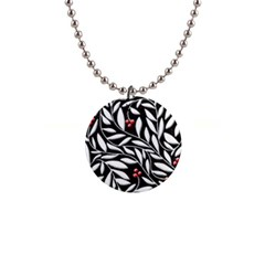 Black, red, and white floral pattern Button Necklaces