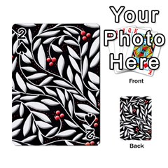 Black, red, and white floral pattern Playing Cards 54 Designs