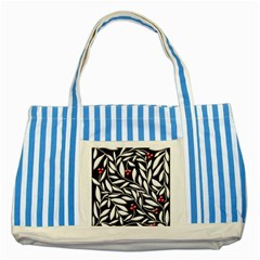 Black, red, and white floral pattern Striped Blue Tote Bag