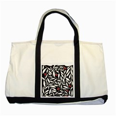 Black, red, and white floral pattern Two Tone Tote Bag