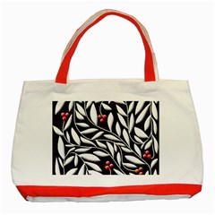 Black, red, and white floral pattern Classic Tote Bag (Red)