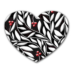 Black, red, and white floral pattern Heart Mousepads