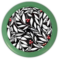 Black, red, and white floral pattern Color Wall Clocks
