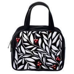 Black, red, and white floral pattern Classic Handbags (One Side)
